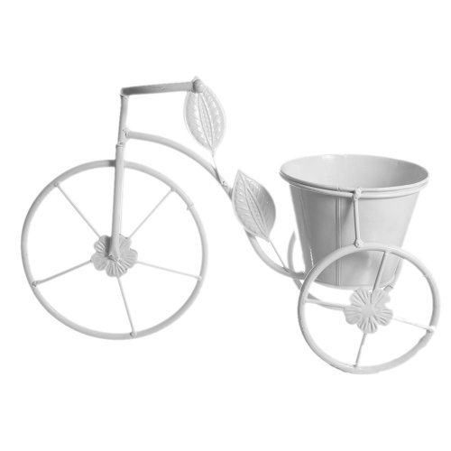 Bicicleta alba cu 2 ghivece pentru flori