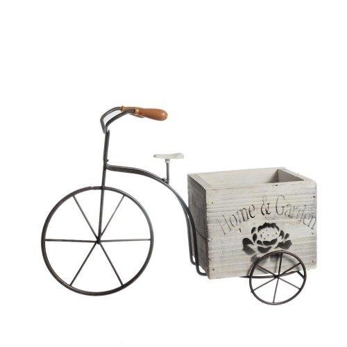 Bicicleta din metal cu suport ghiveci din lemn mare