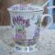 Cana ceramica, model flori de lavanda, cu capac, sita si lingura