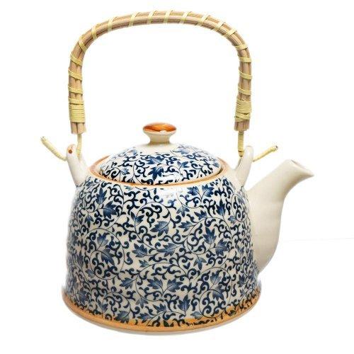 Ceainic Cu Flori Albastre Din Ceramica