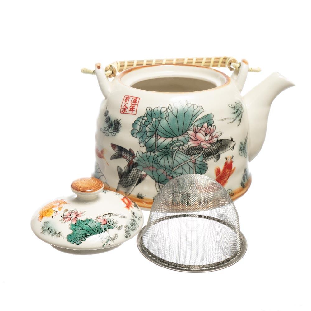 Ceainic cu maner din bambus flori de lotus si pesti