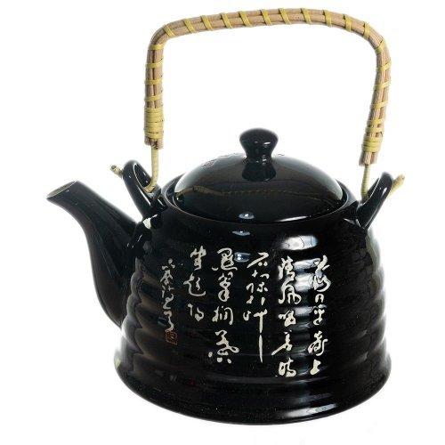 Ceainic Negru Din Ceramica Cu Litere Chinezesti