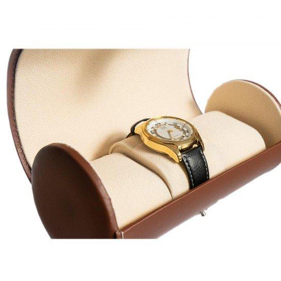 Cutie ceasuri din piele ecologica maro pentru voiaj