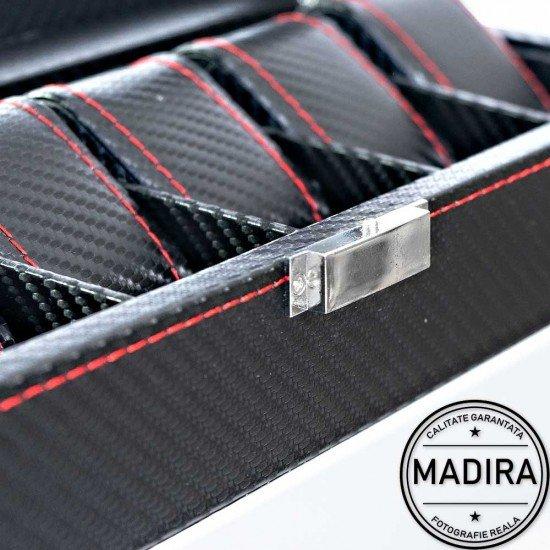 Cutie ceasuri neagra cu 6 spatii - Carbon Style