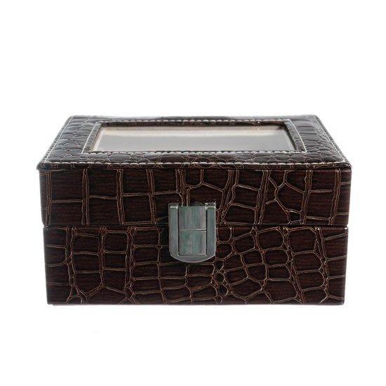Cutie depozitare ceasuri cu 3 spatii din piele ecologica maro