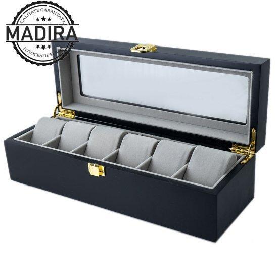Cutie neagra din lemn pentru depozitare 6 ceasuri