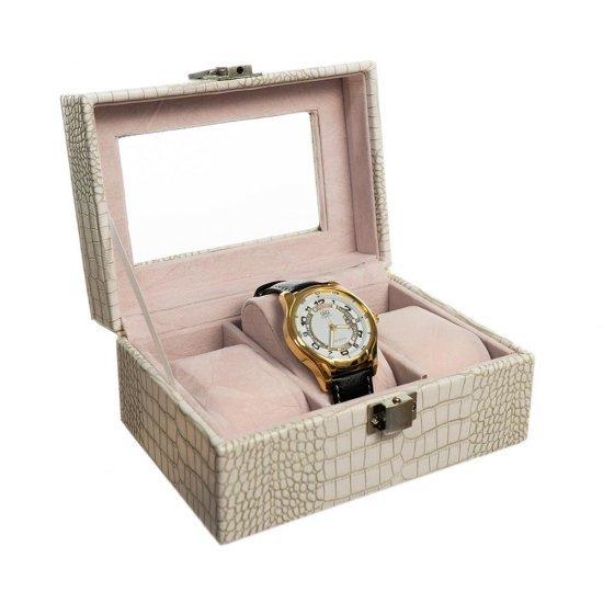 Cutie pentru depozitare 3 ceasuri - culoare crem croco