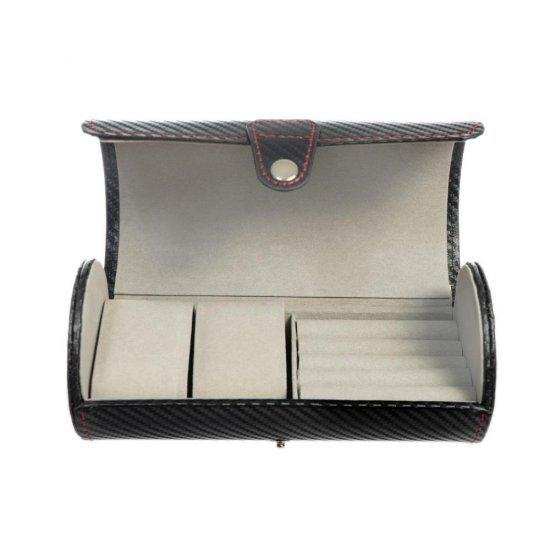 Cutie pentru voiaj pentru 2 ceasuri inele si butoni - carbon style