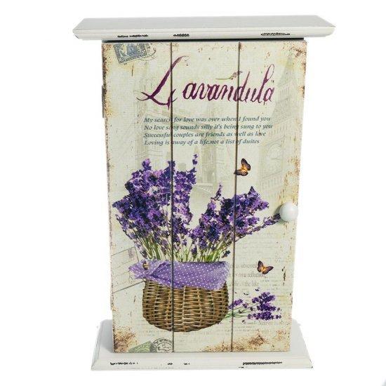 Cutie vintage pentru chei cu imprimeu flori de lavanda