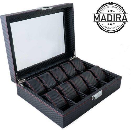 Luxury Line - Cutie ceasuri neagra cu 10 spatii - Carbon Style