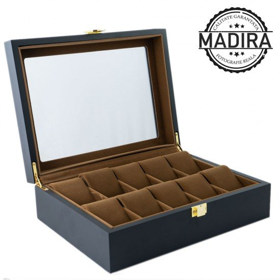 Luxury Line - Cutie din Lemn cu interior din catifea maro