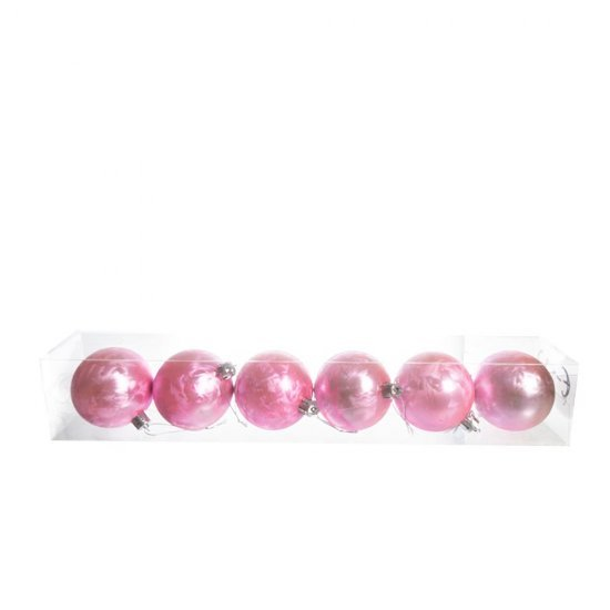 Set 6 globuri rotunde, roz somon