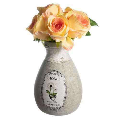 Vaza din ceramica alba decorata cu o floare