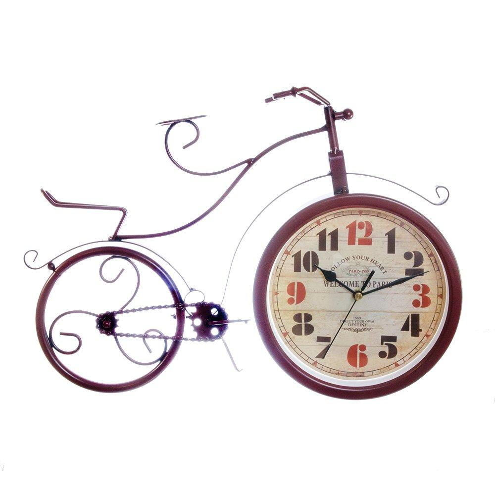 Bicicleta din metal, rosie, cu ceas la roata