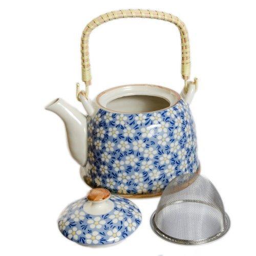 Ceainic albastru din ceramica cu flori albe