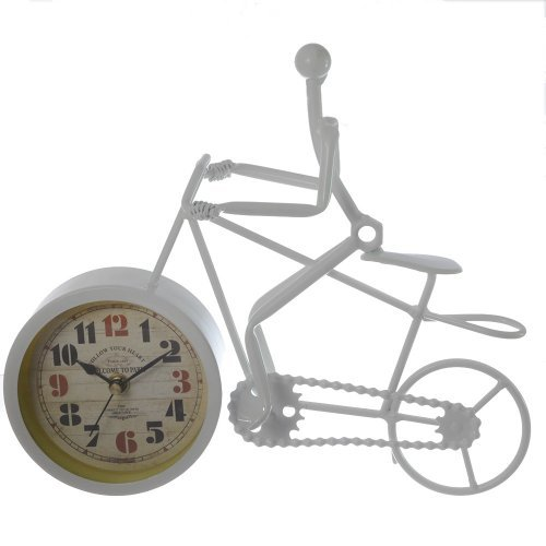 Ceas pentru birou sub forma de bicicleta alba