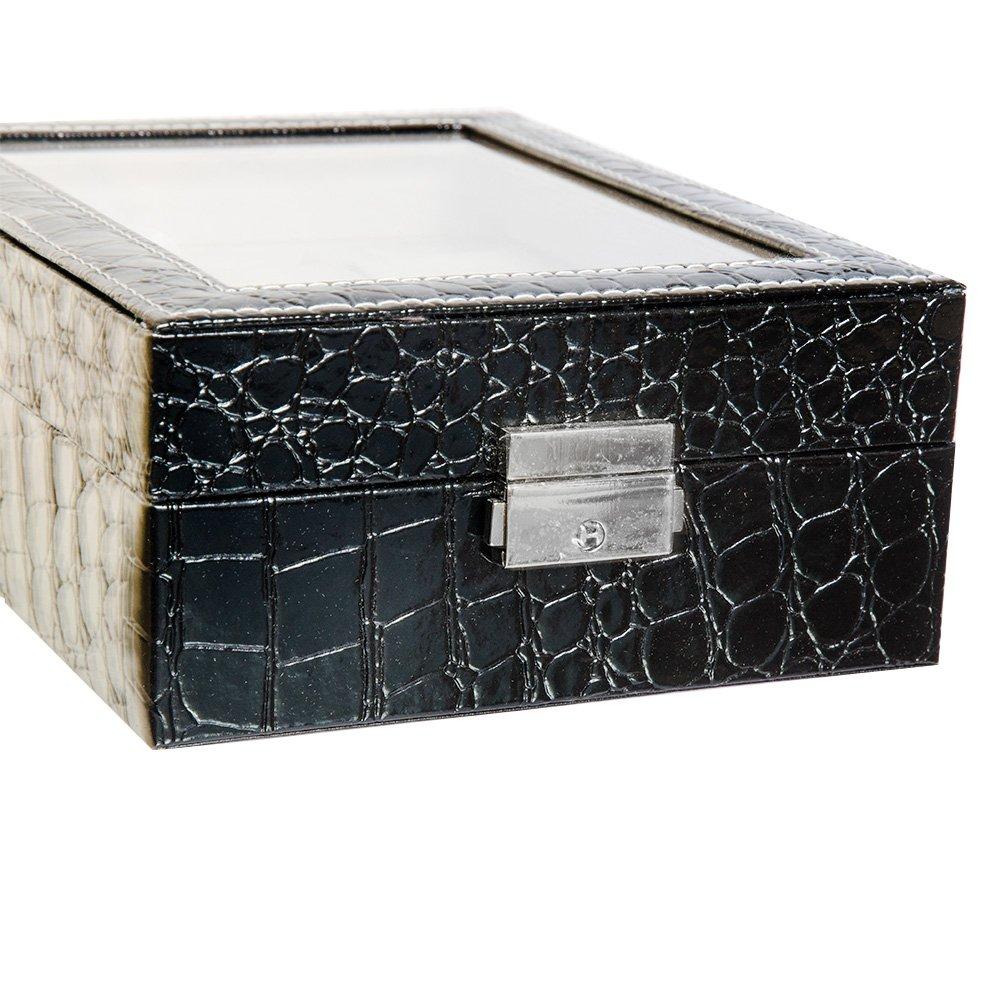 Cutie cu imprimeu croco negru pentru 6 ceasuri
