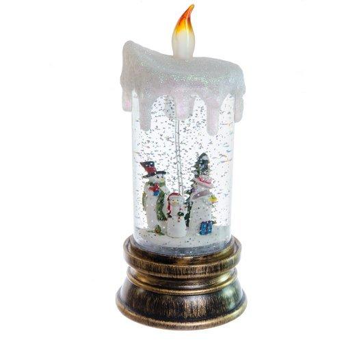 Decoratiune Lumanare Cu Figurine Familie De Omuleti De Zapada