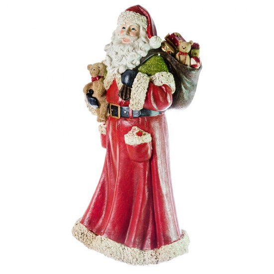 Decoratiune Mos Craciun cu ursulet si sac de cadouri