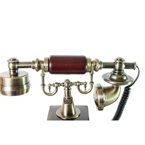 Telefon vintage din lemn cu baza patrata