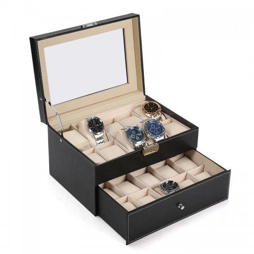 Cutie pentru 20 ceasuri cu doua nivele din piele ecologica neagra