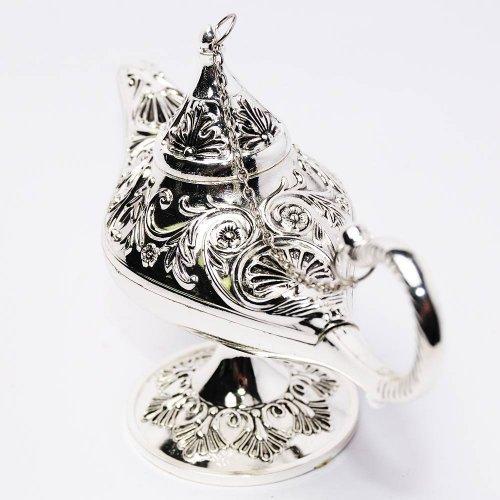 Lampa lui Aladin, model argintiu,  cu gravura florala