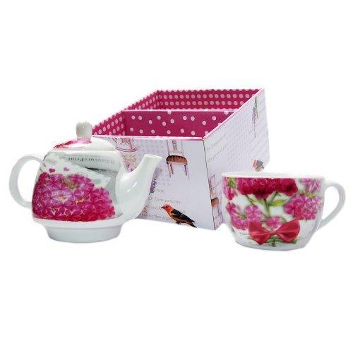 Set ceai pentru 1 persoana cu flori roz