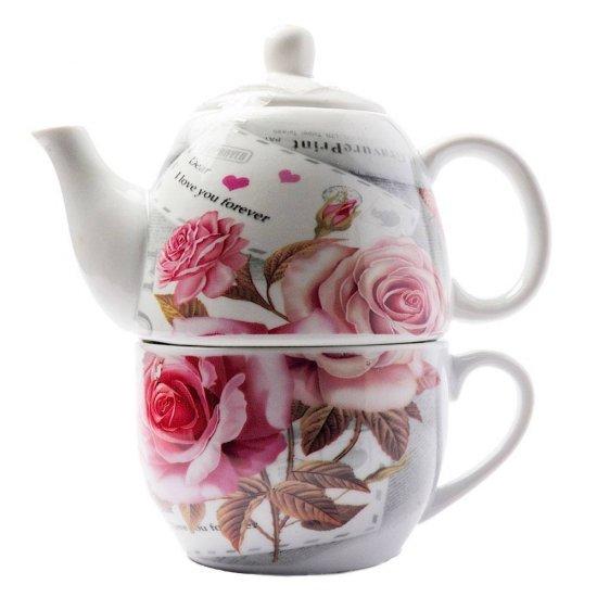 Set elegant de ceai, pentru 1 persoana, cu trandafiri