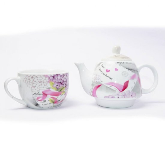 Set tea for one, imprimeu de ziar cu flori si mesaj romantic