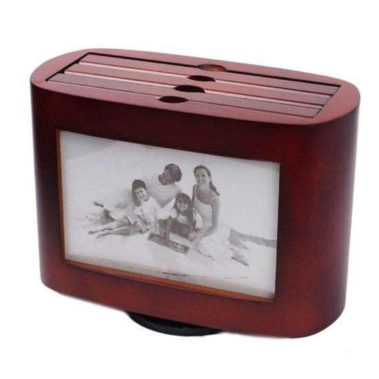 Arhivator foto, din lemn, cu margini ovale, pentru 72 de poze
