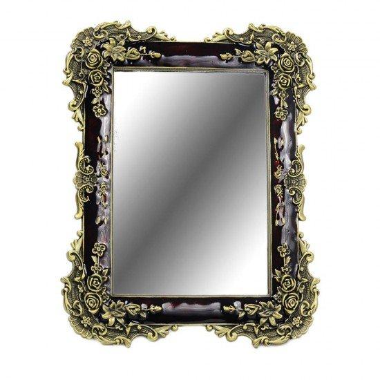 Oglinda cu rama mica, design rosu cu auriu, si trandafiri in relief