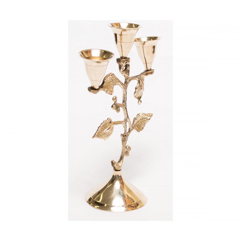 Deosebit sfesnic, cu 3 brate, model decorat cu frunze aurii