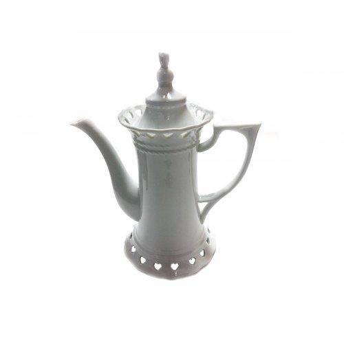 Ceainic de portelan alb in forma de cupa