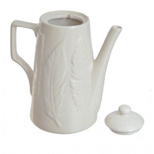Ceainic alb din ceramica cu pana reliefata