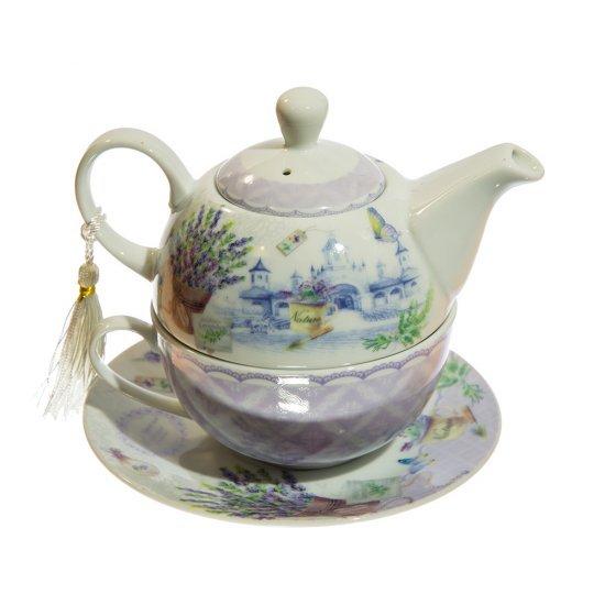 Elegant set de ceai cu ceainic, ceasca si farfurie