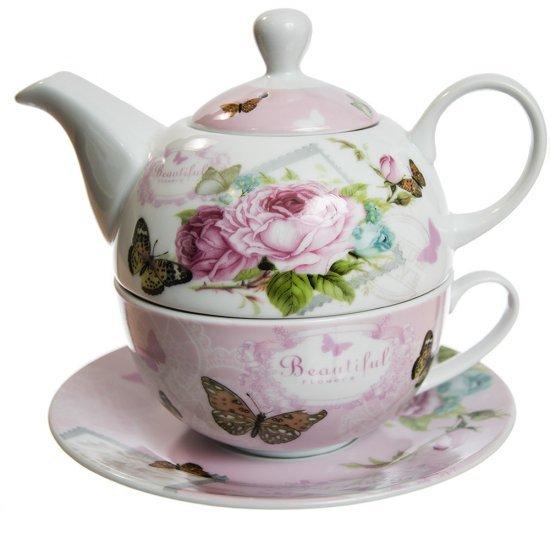 Set Tea For One model roz cu flori si fluturi