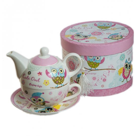 "Set Tea for One ""Bufnita"" cu 3 piese"