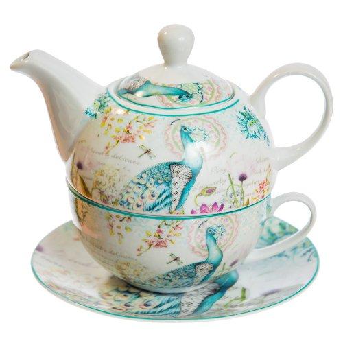 Set Ceai Pentru O Persoana, Model Paun Verde Si Flori