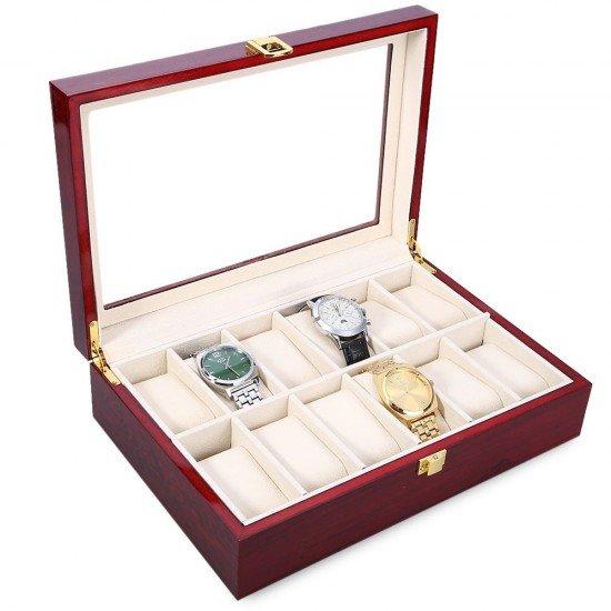 Caseta din lemn, eleganta, cu 12 compartimente pentru ceasuri