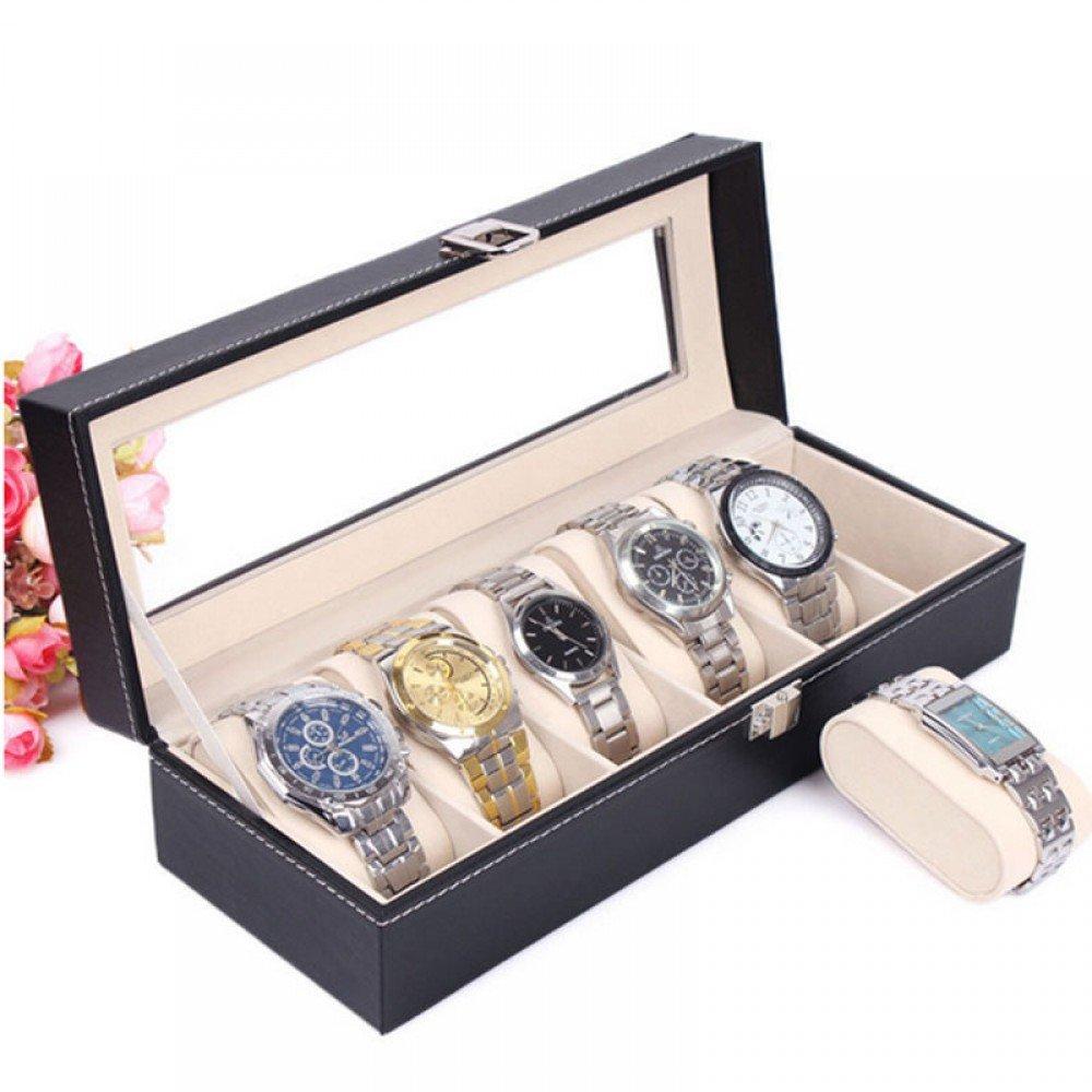 Cutie pentru ceasuri din piele ecologica si cusatura alba