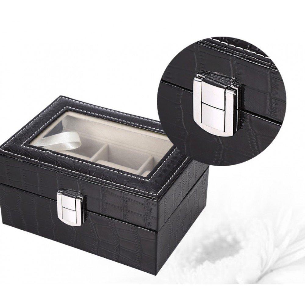 Cutie pentru ceasuri, model negru, cu 3 spatii