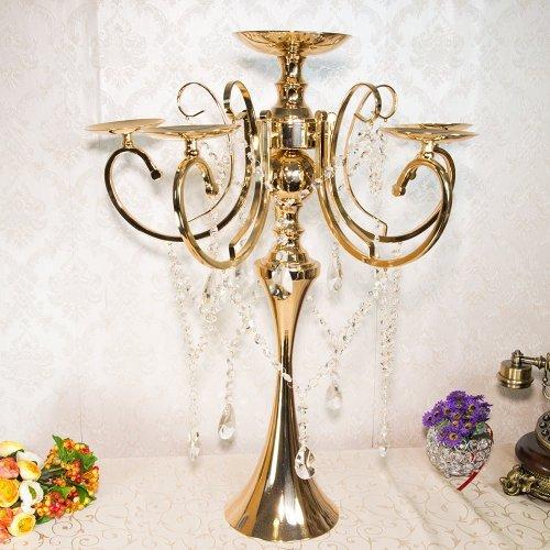 Sfesnic auriu cu 6 brate pentru lumanari si cristale decorative