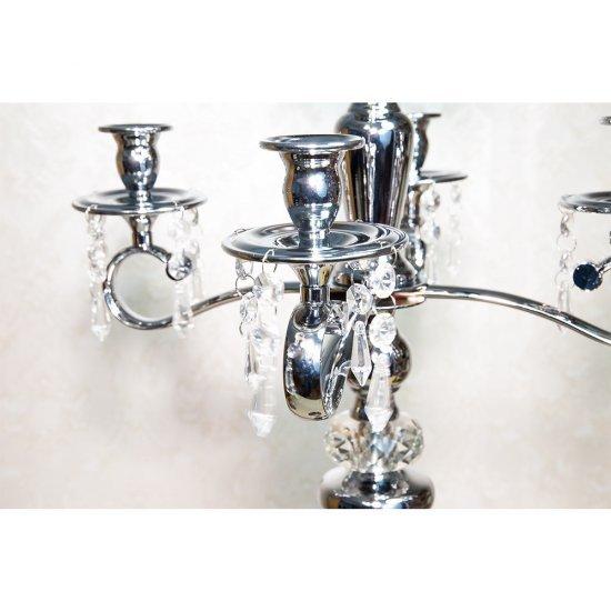 Sfesnic cu 5 brate, argintiu, si accesorii cristale