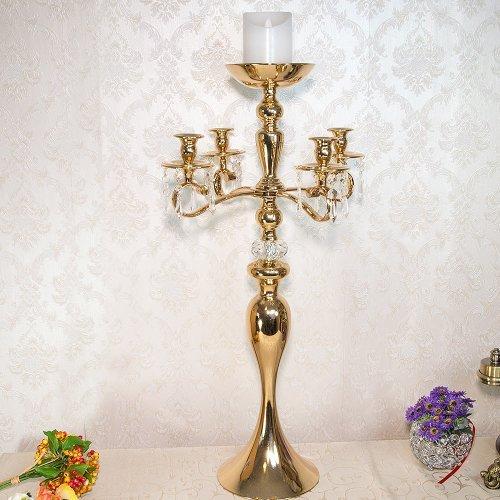 Sfesnic cu 5 brate, auriu, si accesorii cristale