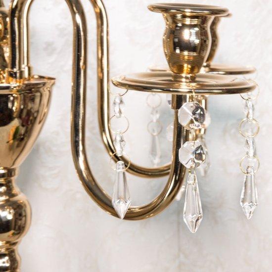 Sfesnic elegant, auriu, cu 5 brate inguste si cristale