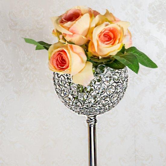 Suport argintiu pentru flori si cupa de cristal
