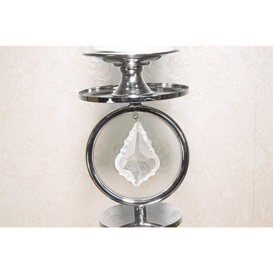 Suport lumanare, argintiu, cu un brat, design unic cristale