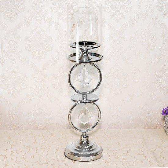 Suport mediu, pentru o lumanare, argintiu, cu cristale