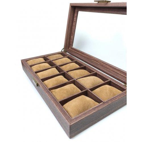 Cutie 12 ceasuri din piele ecologica cu textura imitatie lemn