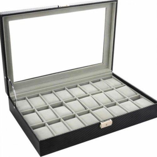 Cutie pentru 24 ceasuri din piele ecologica imitatie carbon